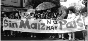 "Tortilla Protest in Mexico, 2007. Photograph by 'Lizdinovella.' The banner reads ""Without Corn, there is No Country.""